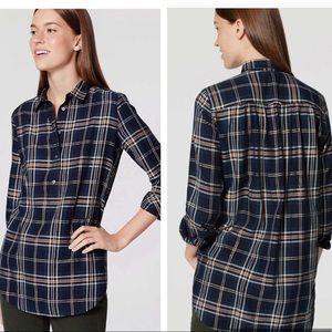 LOFT• Shimmer plaid tunic popover softened shirt.